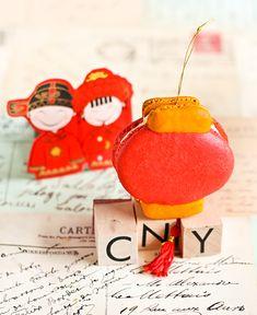 raspberri cupcakes: Chinese Lantern Macarons with Jackfruit Buttercream