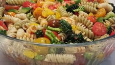 Pasta Salad Recipe - The veggies match the colors in the tri-colored pasta. And the dressing is real zesty and spicy. So when all three - pasta, veggies and dressing - come together, you have a festive, tasty and beautiful salad for six. Pasta Salad Recipes, Recipe Pasta, Pasta Salad Dressings, Dressing For Pasta Salad, Penne Pasta Salads, Vegetarian Pasta Salad, Mix Salad, Healthy Pasta Salad, Best Pasta Salad
