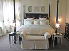 Our Favorite Bedrooms From Rate My Space: Light and airy fabrics contrast with black furnishings to create a dramatic, yet glamorous bedroom. Posted by Rate My Space contributor lisayoung. From DIYnetwork.com