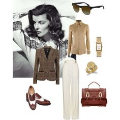 """Hepburn"" by anniepro on Polyvore Katherine Hepburn style - typified in the movie ""The Philadelphia Story"""