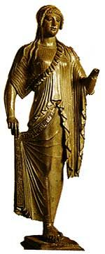 Thanks to existing Greek sculptures and texts, we know how people dressed in ancient Greece. The peplos, worn by the woman in the statue above, was the universal garment for Greek women until the 6th century B.C.E.
