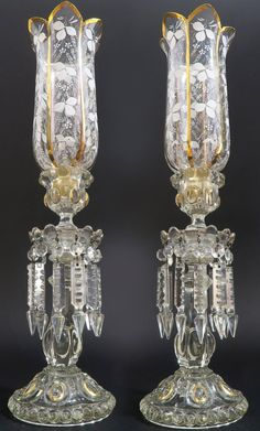 French Pair of Baccarat Crystal Candle Sticks : Lot 67 Baccarat Crystal, Crystal Glassware, Crystal Chandeliers, Antique Oil Lamps, Antique Lighting, Vintage Lamps, Swarovski Crystal Figurines, Luxury Furniture Stores, Crystals