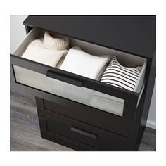 BRIMNES 4-drawer dresser - black/frosted glass - IKEA
