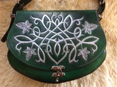 Green Embossed Silver Celtic Knotwork & Ivy by TribaMythica