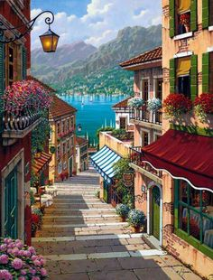 Painting scenery / We actually found these steps in Bellagio , Italy !