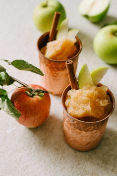 Frozen Apple Cider Slushee Cocktail Frozen Cocktails, Apple Cocktails, Frozen Apple, Freezing Apples, Apple Brandy, Cocktail Recipes, Apple Cider, Beverages, Drinks