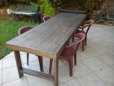 table made for the garden of my daughter for 8 people. Wooden Pallet Table, Pallet Desk, Diy Pallet Furniture, Wooden Diy, Outdoor Furniture, Pallet Tables, Palette Furniture, Pallet Wood, Wood Furniture