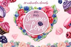 Watercolor set SWEET BERRY LOVE by S_ARTLOVE on @creativemarket