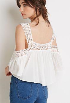 Crocheted Open-Shoulder Crop Top | Forever 21 - 2000079285