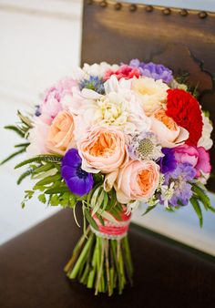 Bridal Bouquets and Wedding Flowers: Orange, yellow, red and purple bouquet