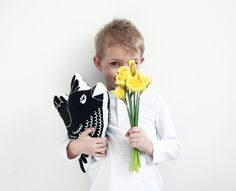 Kissen - niedlichen Tragen Siebdruck Baumwolle Kissen - ein Designerstück von Elina-AIY bei DaWanda