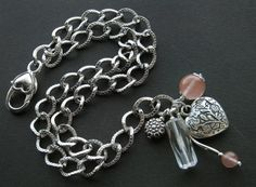 bransoletki - minerały-kwarcowa Heart Charm, Charmed, Bracelets, Silver, Jewelry, Jewlery, Money, Bijoux, Schmuck