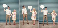 Fab invitation idea - a comic strip with a DIY whiteboard speech bubble! Bride and Joy's engagement session with a vintage travel theme set in the lovely Irish countryside in August.