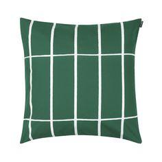 Marimekko Tiiliskivi Green Throw Pillow - New Modern Design Green Throw Pillows, Throw Pillow Covers, Pillow Shams, Marimekko Bedding, Make Your Bed, Pillow Talk, Fabric Covered, Color Trends, Brick