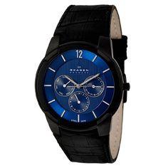 Skagen Men's 856XLBLN Steel Croco-Embossed Black Leather Strap, Blue Dial Watch - http://www.specialdaysgift.com/skagen-mens-856xlbln-steel-croco-embossed-black-leather-strap-blue-dial-watch/