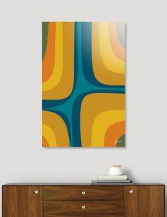 «Retro Groove Mid Century Modern Abstract in Teal and Mustard Mid Century Modern Door, Mid Century Modern Kitchen, Mid Century Modern Living Room, Mid Century Art, Mid Century Modern Design, Palm Springs Mid Century Modern, Mid Century Modern Wallpaper, Modern Artwork, Modern Wall Art