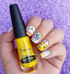 Looking for really NEW ideas of BIRTHDAY NAILS? We`ve found 70 cute pictures with B-day manicure for all ages. Birthday Nail Art, Birthday Nail Designs, Minion Birthday, 70th Birthday, Nail Arts, Manicure, Ideas, Nail Bar, Nails