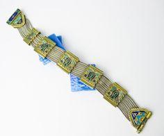 Wide Handmade Vintage Enamel & Sterling Turkish Bracelet ca.1970 Istambul.  by TampicoJewelry, $149.00