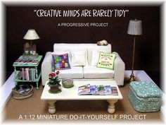 "DYI DOLLHOUSE MINIATURES: ""CREATIVE MINDS ARE RARELY TIDY"", sofa, magazines, craft books, paint bottles, cleaning supplies"