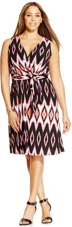 Plus Size Faux-Wrap Dress