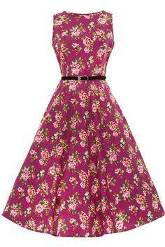 Lady Vintage Damson Berry Floral Hepburn Dress Pin Up Rockabilly Retro