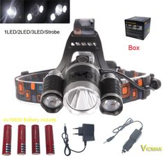 VICMAX XML T6+2R5 LED Headlight Headlamp Head Lamp Light 4-mode torch +4x18650 battery+EU/US Car charger for fishing Lights