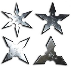 Shurikens, ninja stars, and throwing stars for sale at All Ninja Gear. Great prices on throwing stars and ninja star sets including Batarangs and Naruto. Razor sharp and real, these ninja stars will stick where they're thrown. Ninja Weapons, Weapons Guns, Cool Knives, Knives And Swords, Guerrero Ninja, Tenten Naruto, Ninja Gear, Martial Arts Weapons, Shuriken