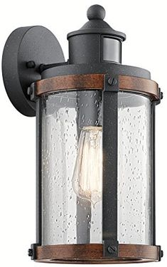 High Quality Kichler 39502 Barrington Motion Sensor Outdoor Wall Mount Lantern In  Distressed Black   Motion Sensor And Dusk To Dawn Decorative Outdoor  Lighting   Deep ...