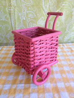 Pink Wicker Cart Basket - LovedItVintage