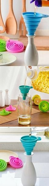 Pouring liquid can be a messy business. These cute, silicone mini funnels are here to the rescue. Made of soft silicone material these funnels are  easily folded. Perfect for fitting small bottles and containers to convey liquids,which is a great time saver in any kitchen or restaurant. With beautiful bright colors these funnels are the perfect addition to all your kitchen gadgets!