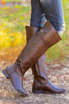 Rider Boots - Chocolate Cute Shoes, Me Too Shoes, Shoe Boutique, Candy Boutique, Country Girl Boots, Rider Boots, Leather Riding Boots, Shoe Closet, Fashion Boots