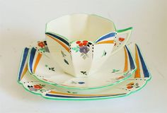 Shelley Art Deco Queen Anne Trio Flowers Royal Blue Yellow Pennant Triangles | eBay