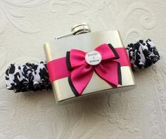 FLASK GARTER with Black and White Damask Print by MoonshineBelle - love this for Brandy