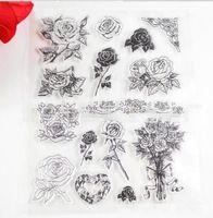 Rose Flower Transparent Stamp Clear Stamp Pattern Stripe DIY Scrapbooking/Card Making/Christmas Decoration Supplies