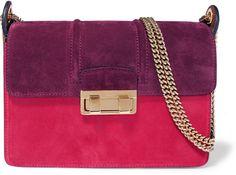 Lanvin Ji Ji Small Color-Block Suede Shoulder Bag