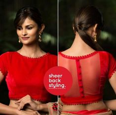 red velvet custom made readymade blouse for saree sheer back womens wear latest blouses colour as per choice upto 54 size stitched - Red velvet custom made readymade blouse for saree sheer back Blouse Back Neck Designs, Fancy Blouse Designs, Sari Blouse Designs, Choli Designs, Blouse Styles, Mehndi Designs, Designer Blouse Patterns, Saree Blouse Patterns, Skirt Patterns