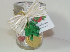 St. Patricks Day mason jar | St Patricks Day gift A mason jar with green clover filled with three ...