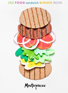 from Masterpieces street food sandwich burger book Paper Illustration, Food Illustrations, Crafts For Kids To Make, Art For Kids, Paper Art, Paper Crafts, Cut Out Art, Food Sculpture, Food Crafts