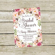 Printable Bridal Shower Invite Bridal Shower by SunbirdPrintables