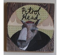 Dopplegangers - Petrol Head. Art print on plywood by New Zealand Artist Hayley Hamilton from Monster.