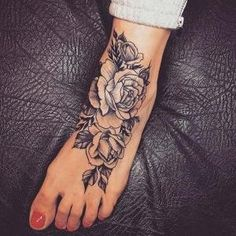 45 Awesome Foot Tattoos for Women Large Rose Foot Tattoo Design Foot Tattoo Quotes, Cute Foot Tattoos, Small Foot Tattoos, Flower Tattoo Foot, Girly Tattoos, Forearm Tattoos, Rose Tattoos, Ankle Tattoos For Women, Tattoos For Women Flowers