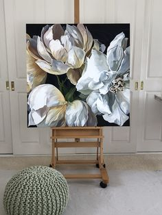 'SEMPRE II' by Jenny Fusca - Hobbies paining body for kids and adult Oil Painting Flowers, Beautiful Paintings, Flower Art, Peony Flower, Painting Inspiration, Home Art, Watercolor Paintings, Canvas Art, Easy Crafts