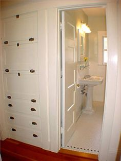 Built-in storage in the hallway!  Bungalow owners, what are some of your storage tips & tricks?