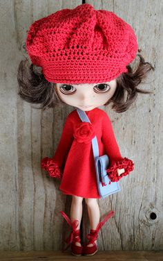 Bright red fleece dress   Flickr - Photo Sharing! Adorable matching crocheted hat with dress. Ruffled hem tape and rosette....so cute!