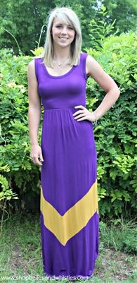 Here for the Tailgate Dress - $39, free shipping/Purple tank dress with gold chevron
