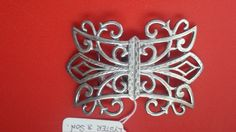 Victorian 2-Section Solid Sterling Silver Nurses Buckle featuring an Art Nouveau design