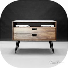 Marble and walnut Nightstand / Bedside Table By Habitables