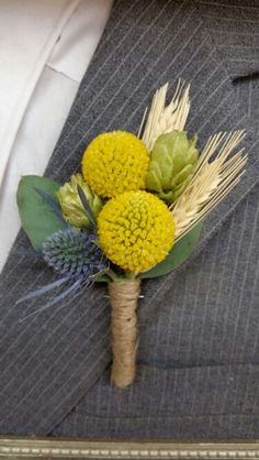 Wheat and hops boutonniere