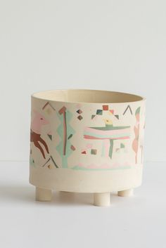 Heidi Anderson Large Inlay Footed Pot in Multi Sculptures, Objects, Pottery, Clay, Ceramics, Create, Handmade, York, Inspiration