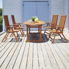 Pöytä GRIMSTAD P230+4 tuolia KAMSTRUP Outdoor Furniture Sets, Outdoor Decor, Decor, Furniture, Outdoor Tables, Outdoor Furniture, Table, Furniture Sets, Home Decor